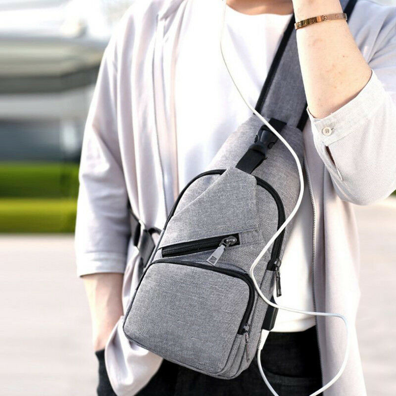 Anti-theft Mens USB with Charger Port Backpack Adjustable Straps Canvas Messeger Bag Laptop Notebook Travel School Bag Crossbody