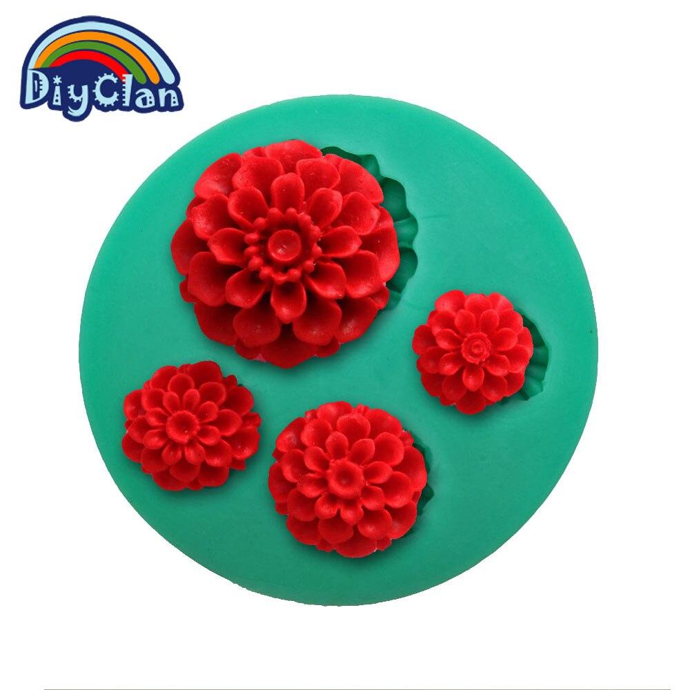 Nuevo mini flor 3d de silicona del molde herramientas fondant cake decorating fo