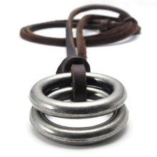 Jewelry Men's Ladies Necklace,  Pendant with Brown Leather Chain, Brown