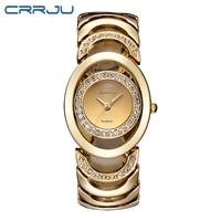 CRRJU Women Watches Luxury Crystal Diamond Quartz Watches Stainless Steel Bracelet Watch Casual Clock Montre Femme