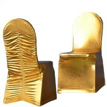 WedFavor 50 шт. металлические золотисто-серебряные с оборками сзади спандекс лайкра чехлы для стульев бронзированные эластичные стрейч Ruched чехлы для стульев