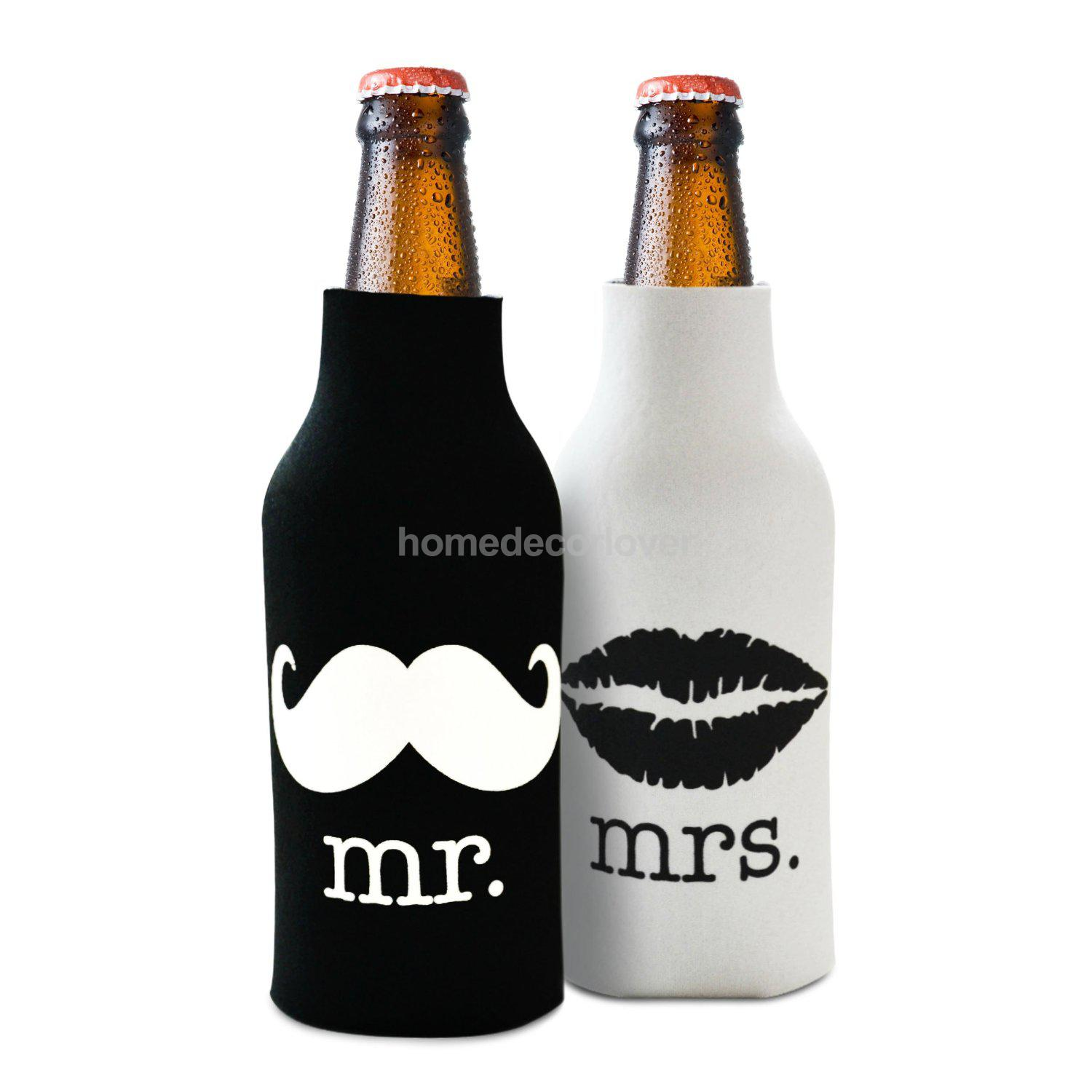Set 2pcs Beer Bottle Cooler Sleeve Wrap Zip Holder Wedding Favor Mr ...