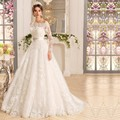 W3338 Vintage Princess Lace Long Sleeve With Removed Jacket A Line Wedding Dress 2017 Crystal Belt Cheap Bridal Gown