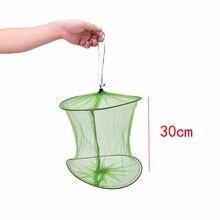 Fishing Landing Tackle Folding Round Metal Frame Nylon Mesh Crab Crawdad Shrimp Minnow Bait Trap Cast Fish Net 30/45cm