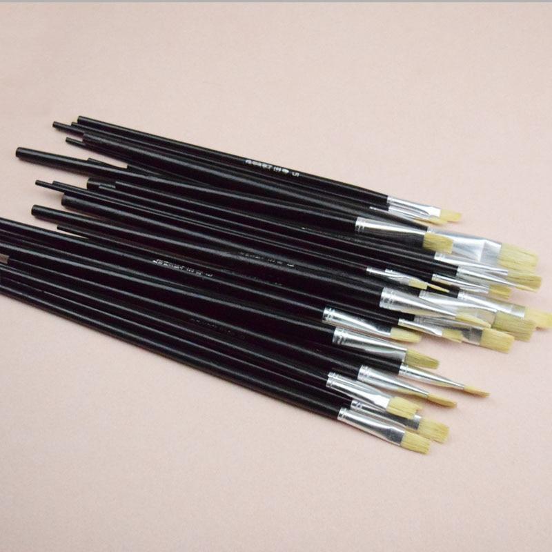 24pcs/Set Pig Bristle Brush Oil Paint Brush Artists Gouache Water Color Brush Kids DIY Drawing Art Tools Materials Row Pen