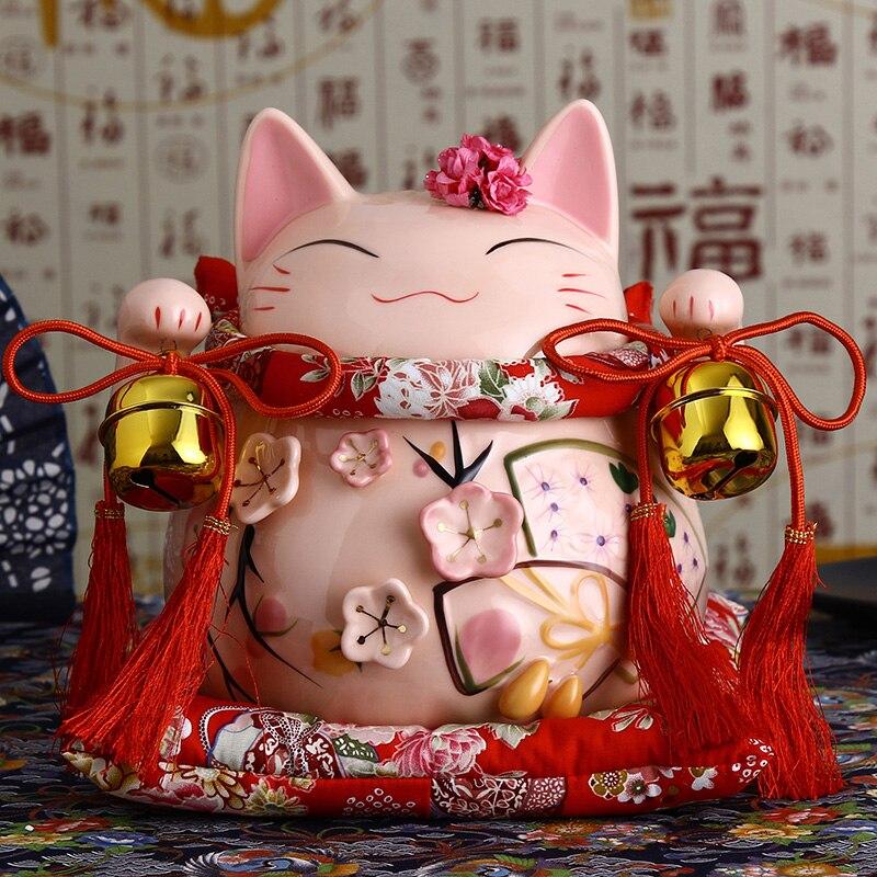 8 дюймов Керамика Манеки Неко орнамент розовый белый Лютни Дизайн Lucky Cat Копилка фигурка Домашний Декор Фортуна кот с Белл