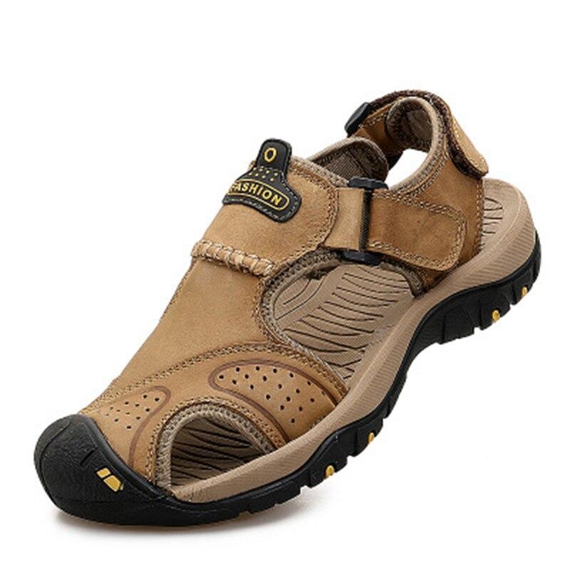 Hiking Walking Sandals Men Beach Flip Flops Summer Outdoor Shoes Genuine Leather Sneaker  Roman Sandal Male Casual Sandals Size