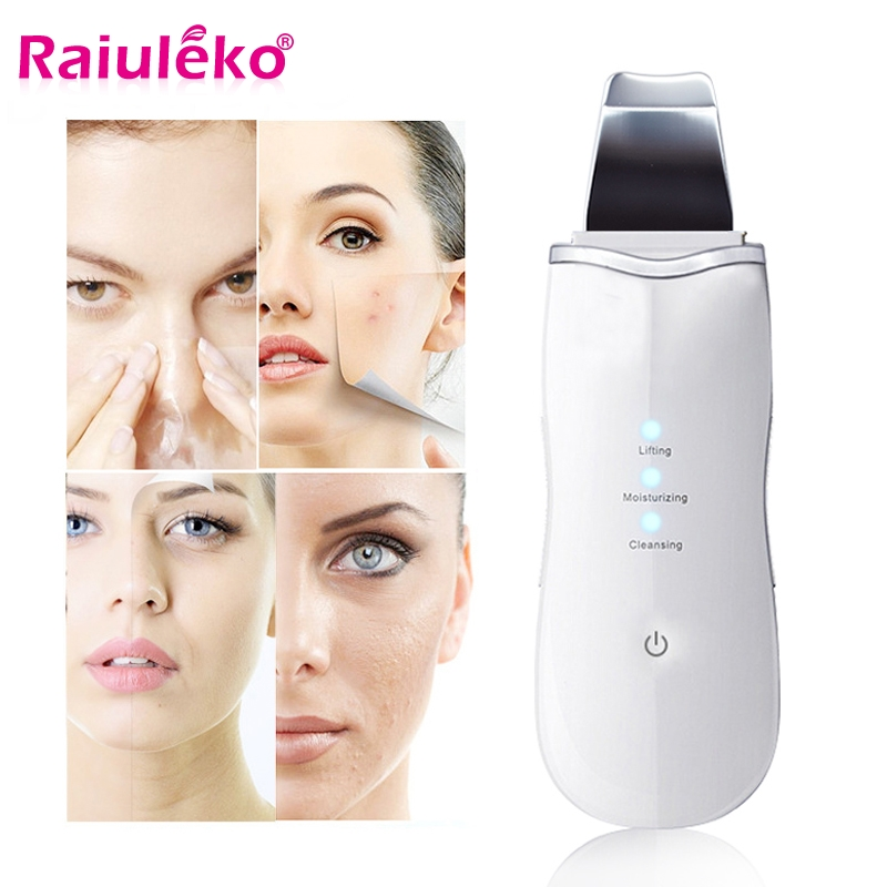 Ultrasonic Face Vibration Skin Scrubber Facial Cleaner Peeling Blackhead Removal Exfoliating Pore Cleaner Wireless Use 2 Colour