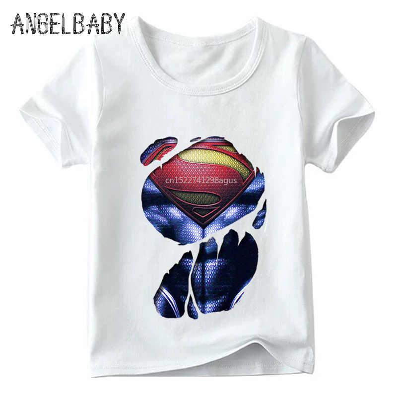 Chłopcy/dziewczyny Hulk/Superman/Spiderman ciało drukuj Funny T shirt dla dzieci Superhero projekt topy dziecięcy t-shirt z krótkim rękawem, HKP5198