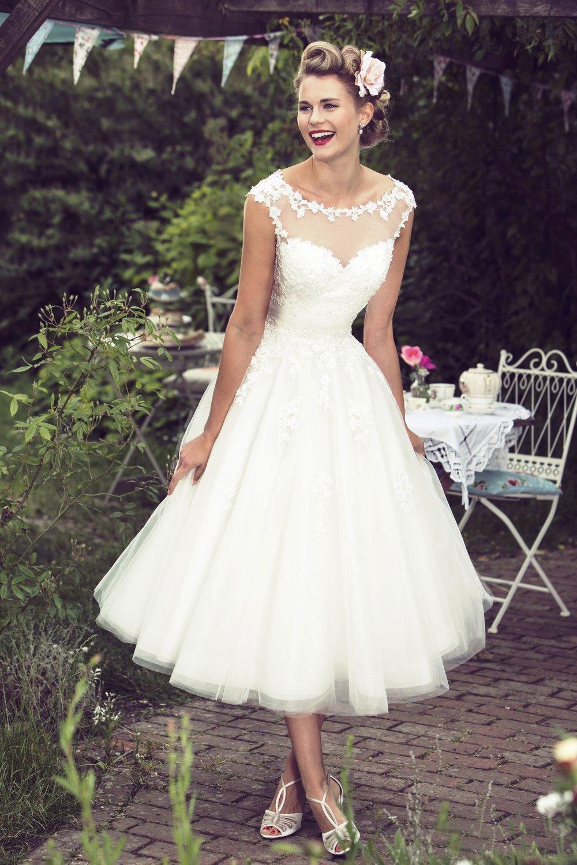 1950 S Vintage Wedding Dresses.Us 108 0 1950 S Vintage Sheer Neck Garden Boho Wedding Dress 2017 Hochzeitskleid Appliques Mid Calf Cheap Tulle Bride Dress Bridal Gowns In Wedding