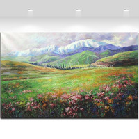 Hand Painted Abstract Moutain Flower Field Landscape Oil Paintings On Canvas Scenery Wall Art Picture For Living Room Home Decor