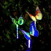 Newest 3pcs Garden Solar Lights Outdoor Multi color Changing LED Fiber Optic Butterfly Decorative Light