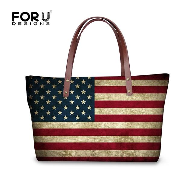 a9b66d76bb451 FORUDESIGNS Mode UK USA Kanada Fahnen Druck frauen Top-Griff Tasche Große  Handtasche Luxus Damen