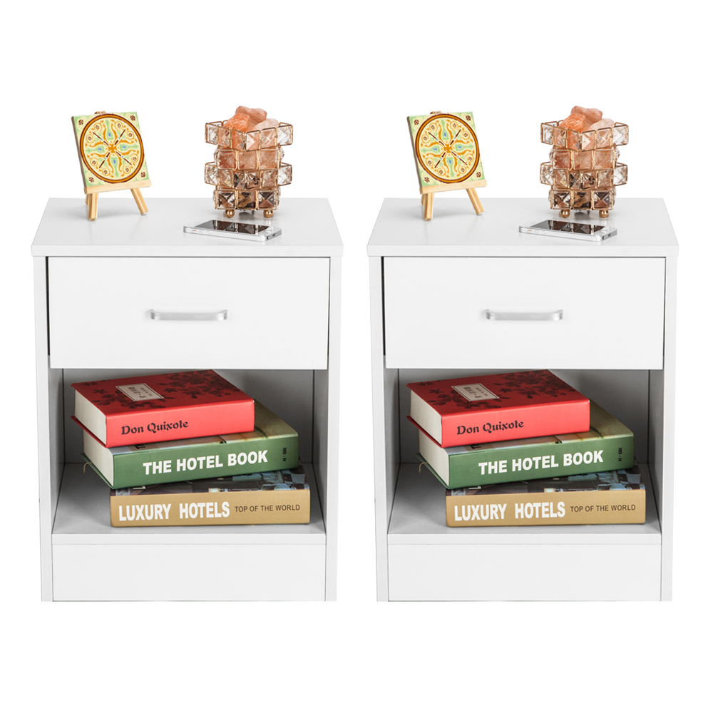 2pcs Night Stands with Drawer White Storage Cabinets Nightstand Modern Home Bedroom Bedside Display Shelf