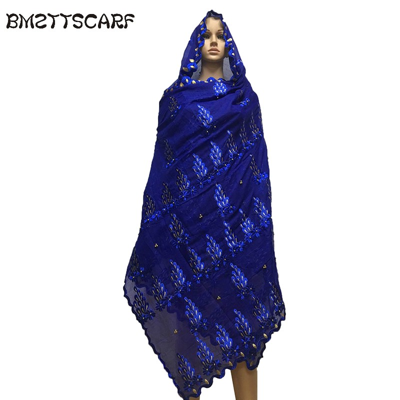 Good Quality african women embroidered scarfs heavy big cotton   scarf   with beads big size   scarf   for shawls   wraps   BM645