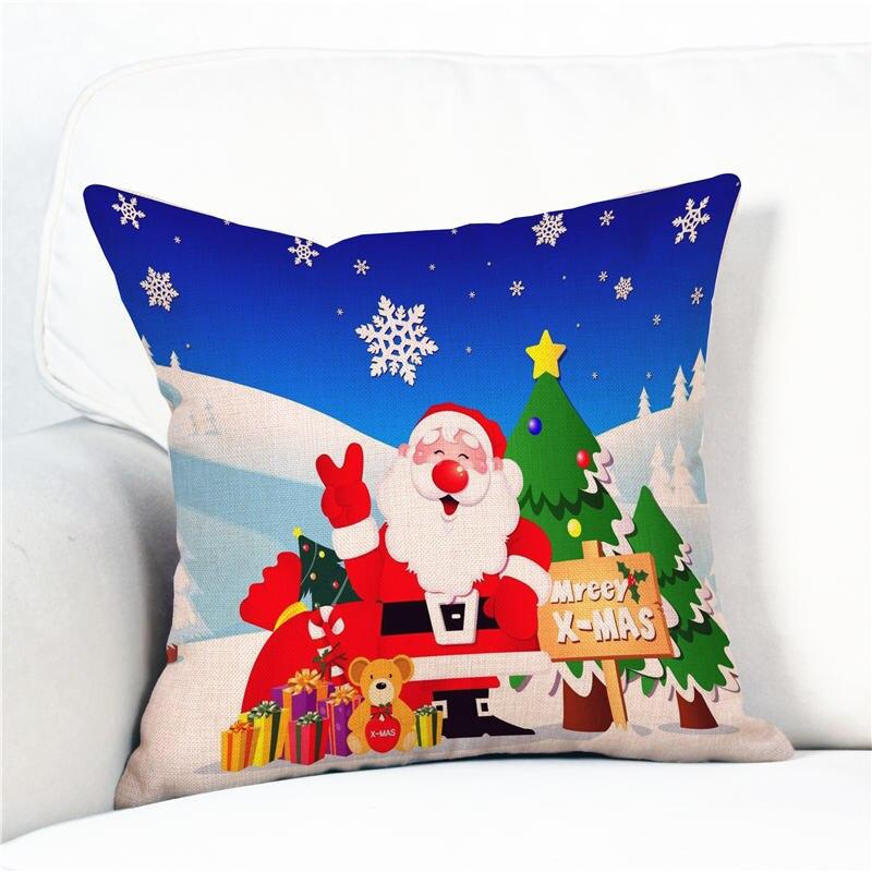 Merry Christmas Pillow Case Gifts Tree JOY Santa Claus Cotton Linen Throw Pillows Cover Home Car almofada 40cm*40cm/45cm*45cm
