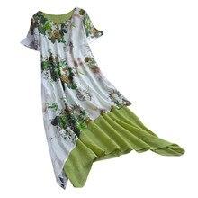 Women's Casual Vintage Floral Printing O-Neck Short Sleeve Patchwork Asymmetrical Linen Dress Robe Femme #7