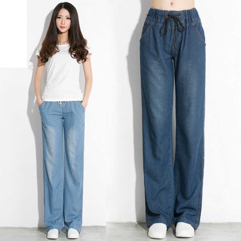 2016 New Arrival Women Elastic Waist Thin Jeans Loose And Straight Trousers Female Casual Wide Leg Pants wholesale new elastic waist pants and lady haren ol nine zengcheng women s casual loose jeans