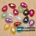 ( 200 unids/lote ) 10 * 14 mm Mix colores AB posterior plana media perla de perlas para la decoración del arte