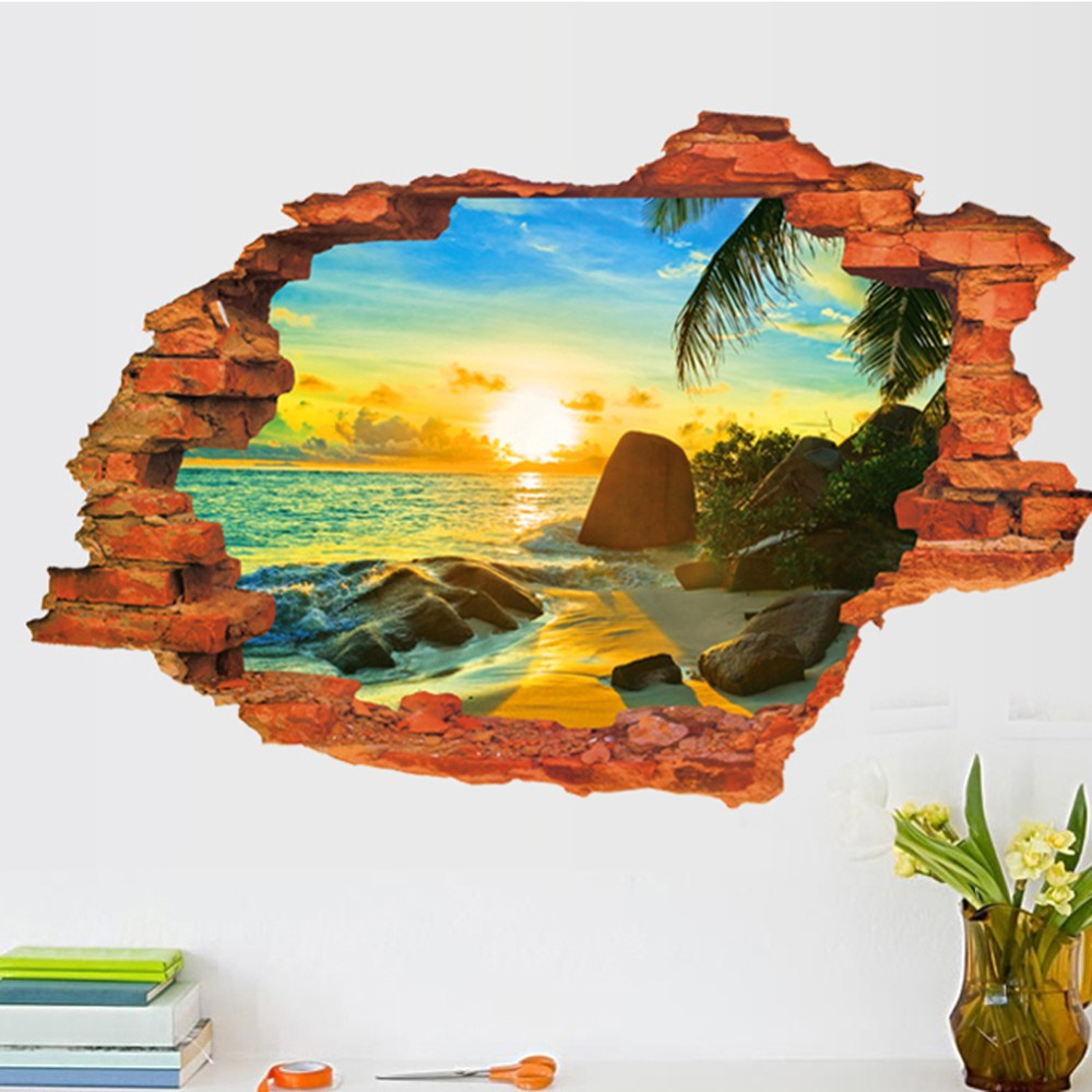 HTB1ofU2KXXXXXbVXpXXq6xXFXXXr - Free shipping:3D Broken Wall Sunset Scenery Seascape Island Coconut Trees Household Adornment Can Remove The Wall Stickers