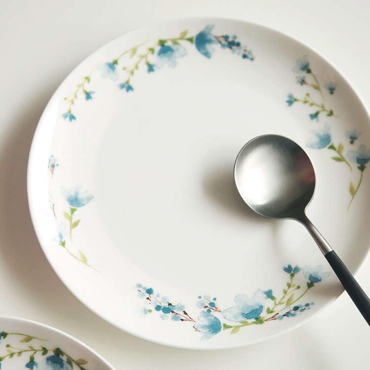 8inch Blue Floral Pastoral Bone China Decorative Plate Tableware Dishes Plates On Glazed Steak Pasta