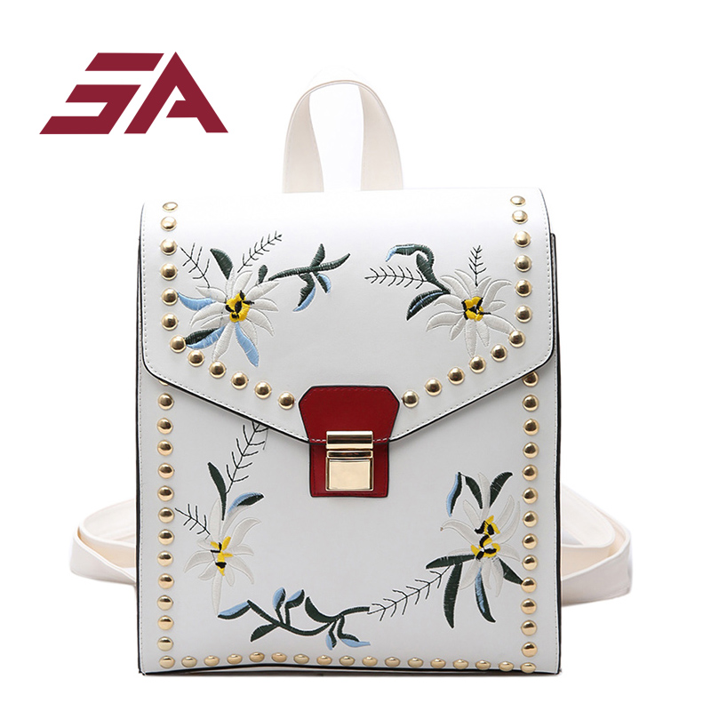 SA Fashion Embroidery Girl Backpacks Cute School Bags New Women Backpack PU Leather Female Shoulder Bag mochilas mujer 2018 2016 new fashion novelty despicable me kids cartoon backpacks children minion school bag boy girl mochilas
