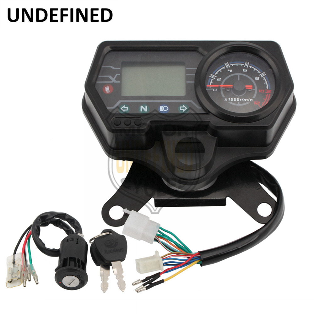 Motorcycle Speedometer Odometer 12V Digital Backlight Dashboard Tachometer Indicator Meter for Honda CG125 Moto UNDEFINED old school motorcycle gauges