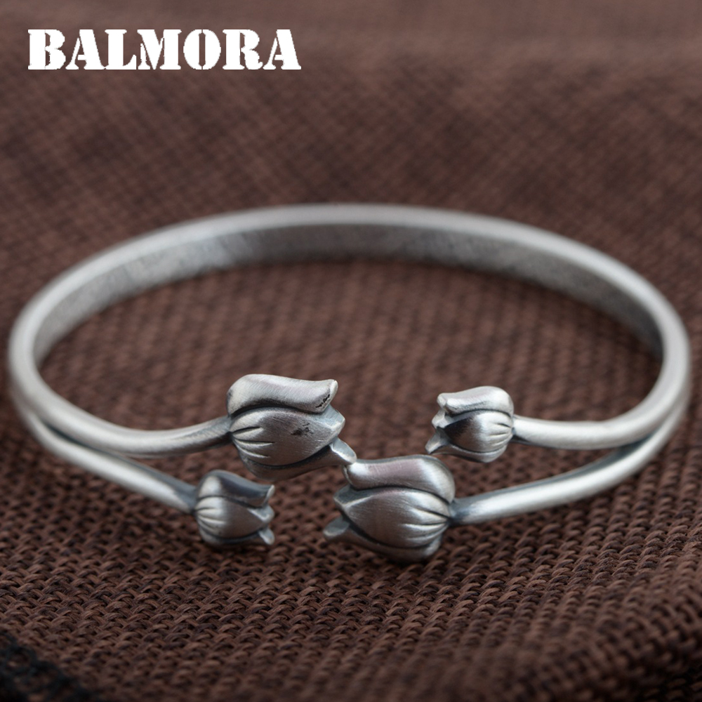 BALMORA 999 Pure Silver Flower Open Bangles for Women Mother Gift about 17cm Bracelet Elegant Silver Jewelry Accessories SZ0357