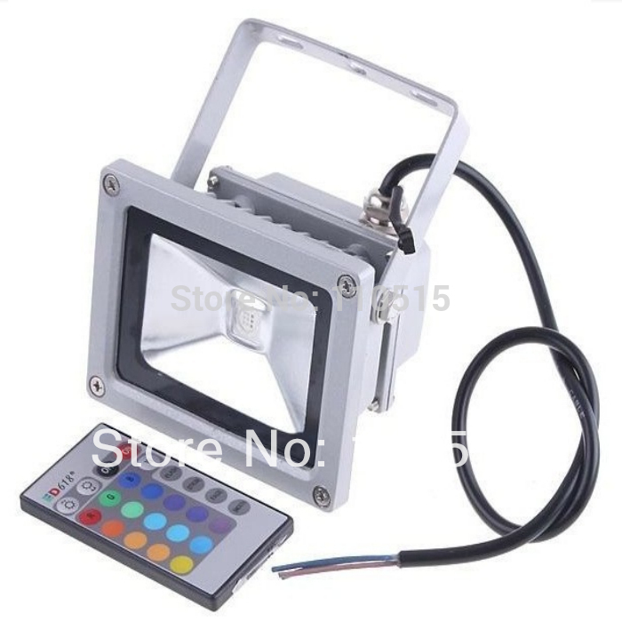 Free shipping 8pcs/lot Waterproof Remote Control 10W RGB LED Cold/Warm white Floodlight Outdoor decaration lighting 85-265V