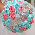 DIY brooch bouquet  Silk Bride Bridal Wedding Bouquet Bridesmaid cyan-blue & coral Cloth roses Customizable  diamond bouquets