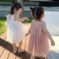 Children's Dress Girl Summer Dress Fairy Wings Girl Princess Dress Flower Baby Dress 1 10 Years Old Girl Dress