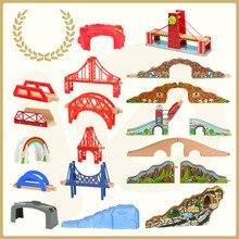 Друзья деревянный поезд трек железнодорожный мост аксессуары различные компоненты туннель крест мост деревянные игрушки развивающие игрушки