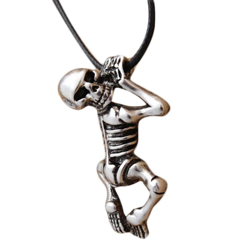 Drop Shipping Vintage ze stali tytanu w kształcie czaszki męska wisiorek naszyjnik uroczy biżuteria akcesoria