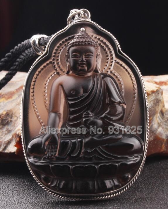 925 Silver Natural Ice Obsidian Handmade Carved Chinese Medicine Buddha Lucky Amulet Pendant + Beads Necklace Fashion Jewelry 8 china silver fine workmanship carved lucky money happy buddha on fish statue d0426