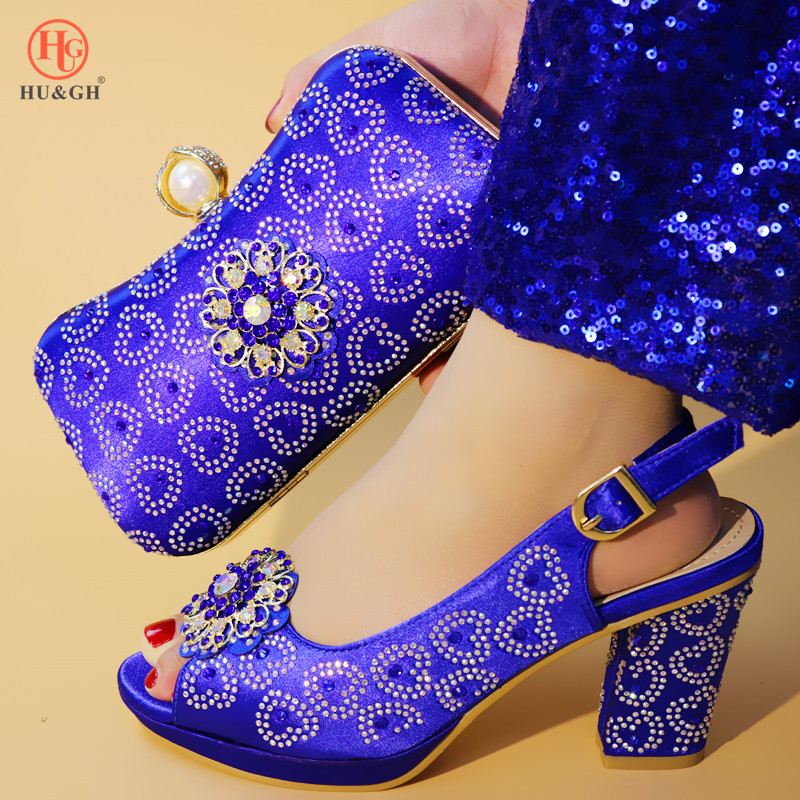 2019 Green Color Ladies Shoes with Matching Bags Set Shoe and Matching Bag for Nigeria Party African Wedding Shoes and Bag Set - 2