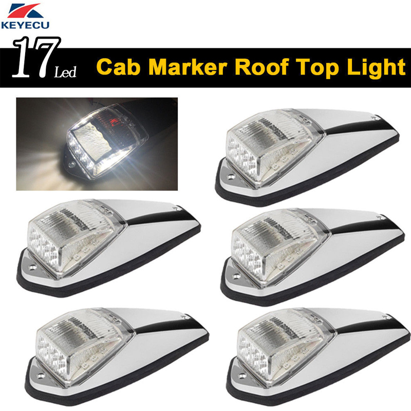 KEYECU 5x 17LED White Roof Light Chrome Cab Marker Clearance Roof Running Top Light Assembly for