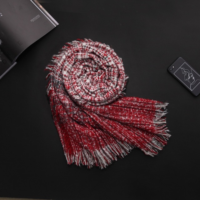 Ladybro New Women Scarf Luxury Brand Soft Gradient Checkered Winter Red Scarf Knit Foulard Femme Wrap Shawls And Scarves Female