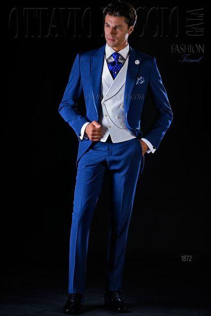 2017 Latest Coat Pant Designs Italian Royal Navy Blue Men Suit Slim Fit 3 Piece Tuxedo Groom Suits Custom Prom Blazer Masculino