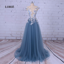 LORIE Party Evening Dress for Woman Scoop A-Line Decorated with Flower Tull Blue Prom Dress for Graduation vestido de festa 2017