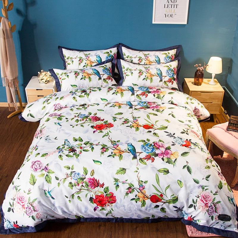 Style campagnard lumineux couleur Floral feuille oiseau impression ensemble de literie double reine roi taille housse de couette draps taie d'oreiller