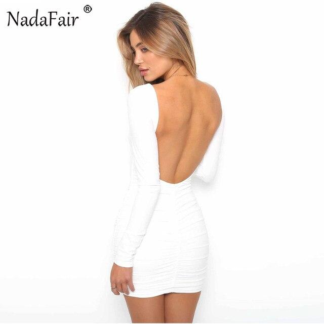 Online-Shop Nadafair Backless Lange Hülse Wrap Bodycon Low Cut Sexy ...
