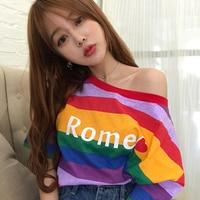 7Mang 2019 Summer Streetwear Rainbow Striped Loose T Shirt Women Letter Print Sexy Off Shoulder Korean Tshirts 0524