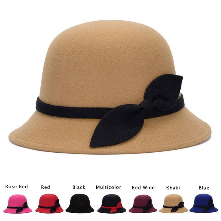 New Fashion Sweet Solid Color Women's Beach Retro Vintage Wool Felt Bowler Fedora Hat Autumn Winter Bucket Caps For Woman