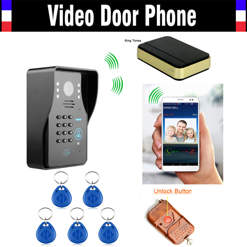 Wireless Wifi IP Digital Video Door Phone Intercom Doorbell with Mini Door Bell RFID Code Keypad Remote Control Doorphone digital video intercom door phone doorbell wireless camera doorbell ip intercom video door bell phone eye hole door viewer