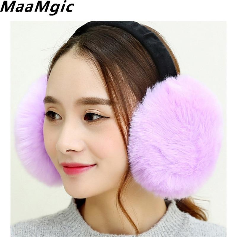 New Fashion Cute Rabbit Fur Earmuff Faux Rex Fur Earmuffs Winter Warm Leather Decor Head Decoration White Multicolor Headphones