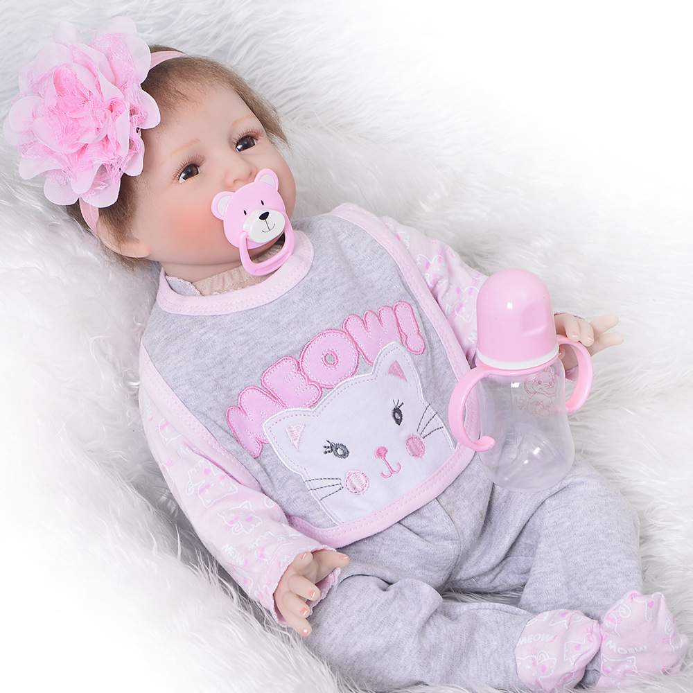Baby Size Reborn Silicone Baby Doll with Cloth Body 22 Inch Bebe Reborn Toy For Toddlers Surprise Lol Reborn Baby Doll Hot Sale