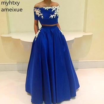 2019 New Arrival Blue Robe Women Evening Dresses Scoop None A-line Short Floor-length Satin Natural Plus Size Gown Dresses For
