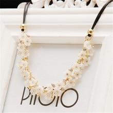 MissCyCy 2016 New Vintage Fine Jewelry Simple Daisy Rhinestone Flower Leather Cord Statement Necklace For Women