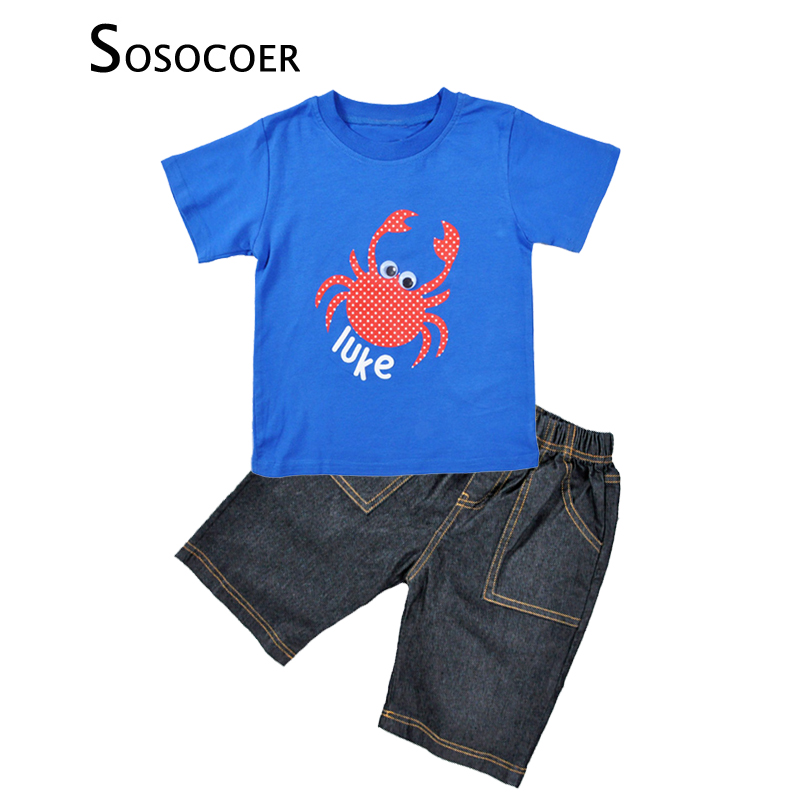 SOSOCOER Summer Boy Clothing Set Cartoon Crab Short Sleeve T-shirt+Denim Shorts 2pcs Kids Baby Clothes For Children Clothing Set 2pcs children outfit clothes kids baby girl off shoulder cotton ruffled sleeve tops striped t shirt blue denim jeans sunsuit set