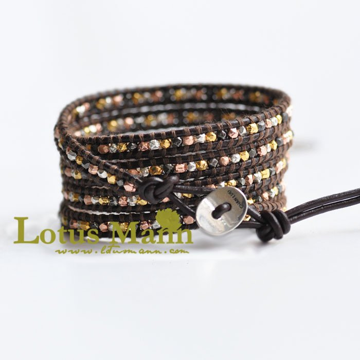 lucky mixed nuggets leather wrap bracelet Wrap Bracelet on Leather mixed print belted wrap jumpsuit